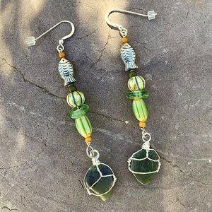 Big Sur Jade Nugget & Trade Bead Earrings